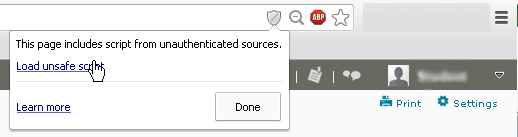 Chrome security warning