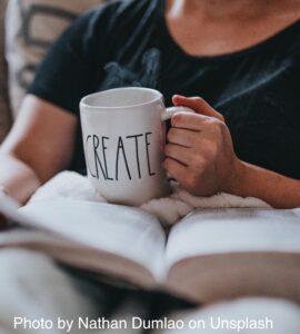 Mug of tea with Create lettering