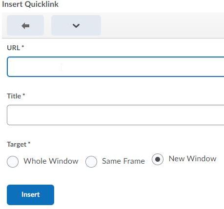 screencap of the Insert Quicklink options window