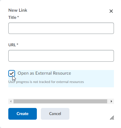 Screencap of the options window for the Create Link option in Content