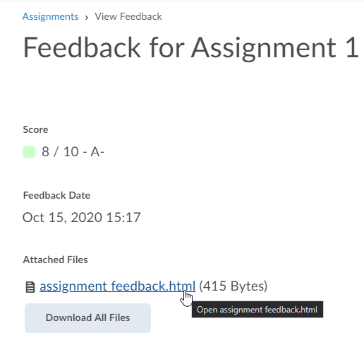screencap of the Feedback screen in student view of Assignments