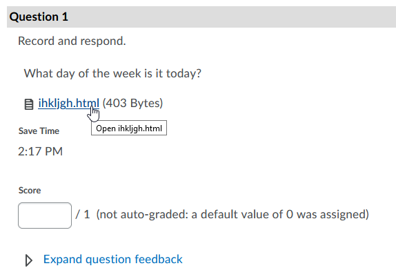 screencap of a quiz attempt question with an audio file attachment