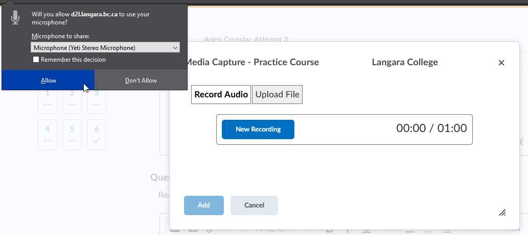 screencap of the audio recorder requesting browser permission to use the microphone