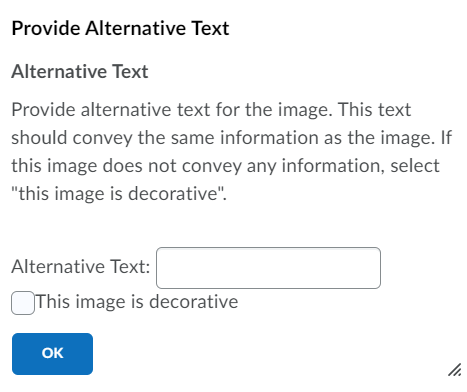 Brightspace prompts users to add alt text when inserting images