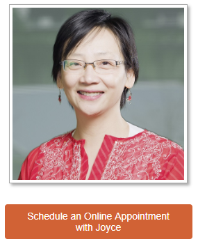 """Picture of librarian with button below that reads """"Schedule an Online Appointment with Joyce."""""""