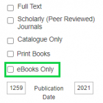 """Screen capture of the filters found on the Library's Quick Topic Search. The """"eBooks Only"""" filter is highlighted."""