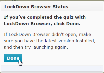 LockDown Browser Status window