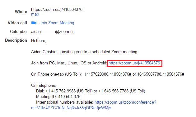 Zoom email invitation