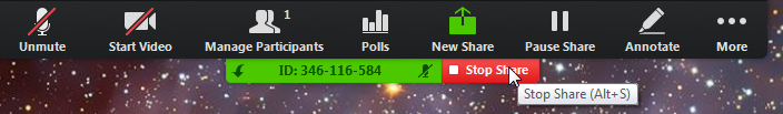 """A control bar reading, from left to right, Unmute, Start Video, Manage Participants, Polls, New Share, Pause Share, Annotate, and More. Below is a green bar containing the meeting ID, and to the right of that is a red button reading """"Stop Share."""""""