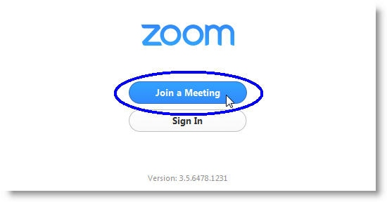 """The Zoom """"Join a Meeting"""" window, with two buttons: """"Join a Meeting"""" and """"Sign In."""""""