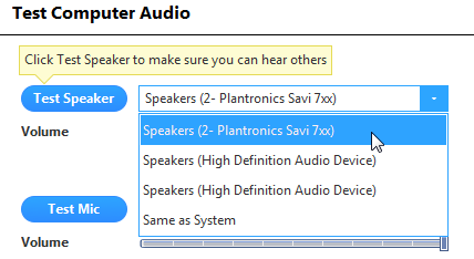 """A window headed """"Test Computer Audio."""" A blue button reading """"Test Speaker,"""" and to the right: an open dropdown menu listing all the audio output devices on the computer."""