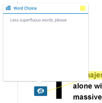 "a white box headed in blue text: ""word choice""; underneath is black text reading ""less superfluous words, please;"" below the white box is a blue speech bubble with several blue squares inside of it"