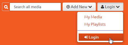 Mediaspace login menu