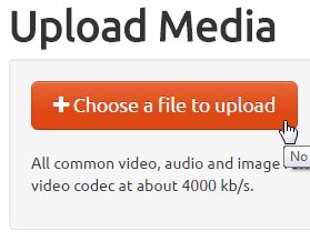 """MediaSpace - Add New Media - """"Choose a file to upload"""" button"""