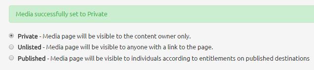 MediaSpace > Add New Media > Privacy settings