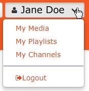 MediaSpace user menu