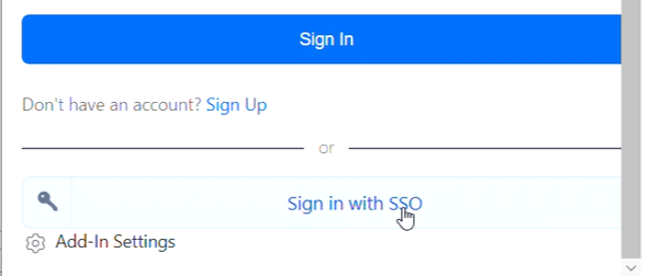 """The bottom of the """"log in to Zoom"""" in the Outlook Zoom plugin, showing the arrow pointing at the """"Sign in with SSO"""" button."""