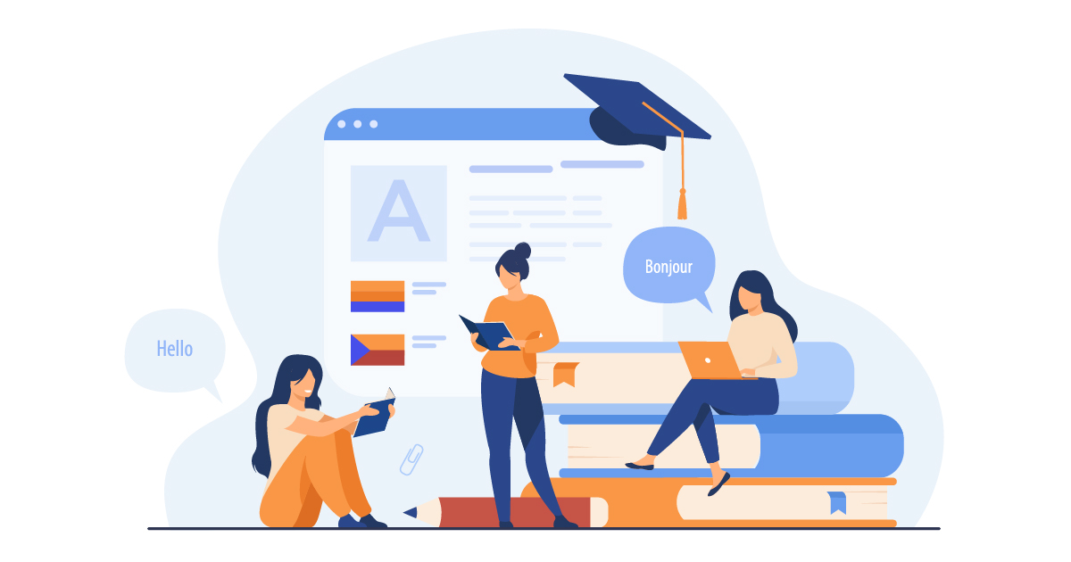 """Vector illustration of two people reading books and one person on a laptop with speech bubbles stating """"hello"""" and """"bonjour"""". They are sitting on large books with a computer screen and graduation cap in the background."""