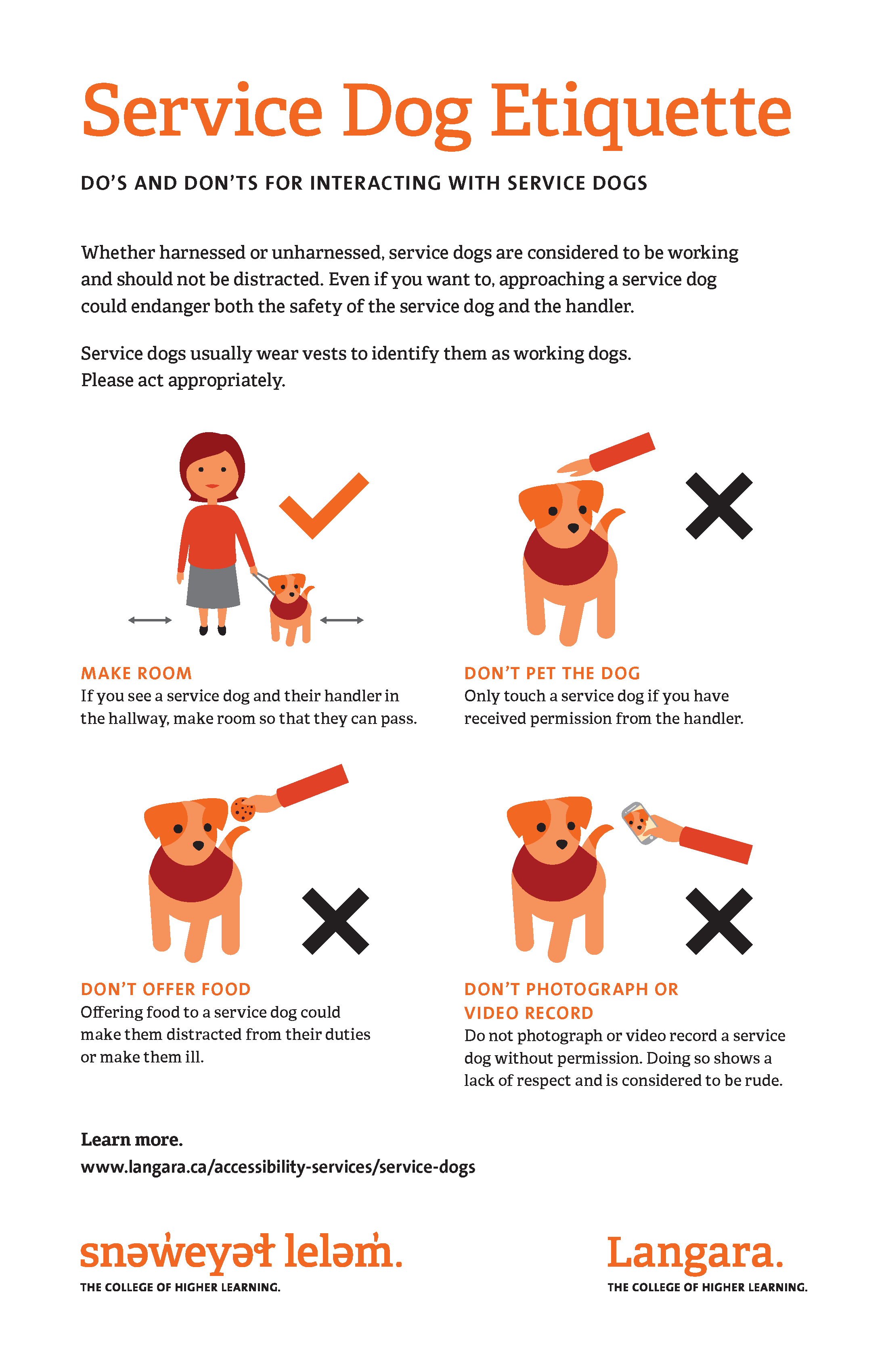 Some do's and don'ts for interacting with service dogs include making room for the service dog and handler in the hallway, don't pet the service dog unless you have received permission from the handler, don't offer food to the service dog, and don't photograph or video record the service dog without permission.